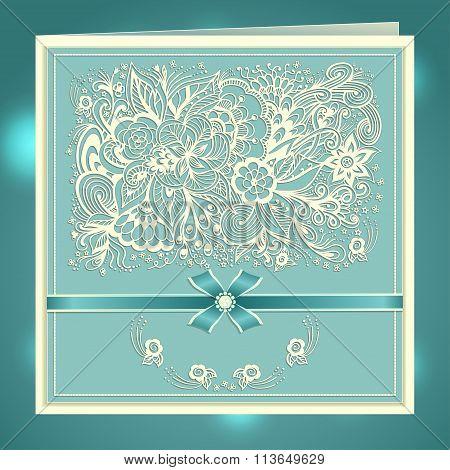 Wedding invitation with Zen-doodle flowers bow ribbon rhinestones in blue