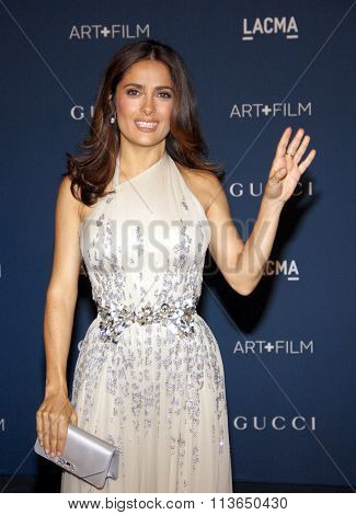Salma Hayek at the LACMA 2013 Art + Film Gala Honoring Martin Scorsese And David Hockney Presented By Gucci held at the LACMA in Los Angeles, USA on November 2, 2013.