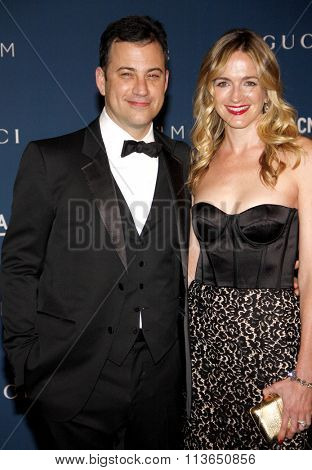 Molly McNearney and Jimmy Kimmel at the LACMA 2013 Art + Film Gala Honoring Martin Scorsese And David Hockney Presented By Gucci held at the LACMA in Los Angeles, USA on November 2, 2013.
