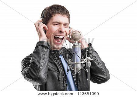 Rock singer screaming.