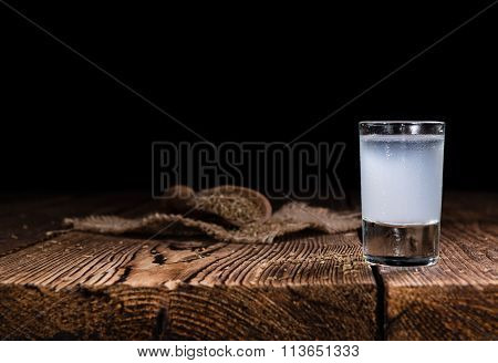 Ouzo On Wooden Background
