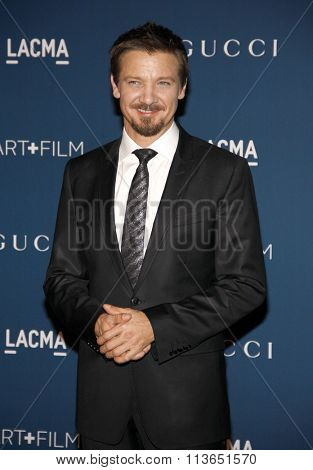 Jeremy Renner at the LACMA 2013 Art + Film Gala Honoring Martin Scorsese And David Hockney Presented By Gucci held at the LACMA in Los Angeles, USA on November 2, 2013.