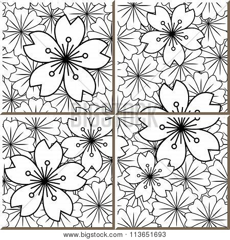 Vintage seamless wall tiles of Japanese sakura flower, Moroccan, Portuguese.