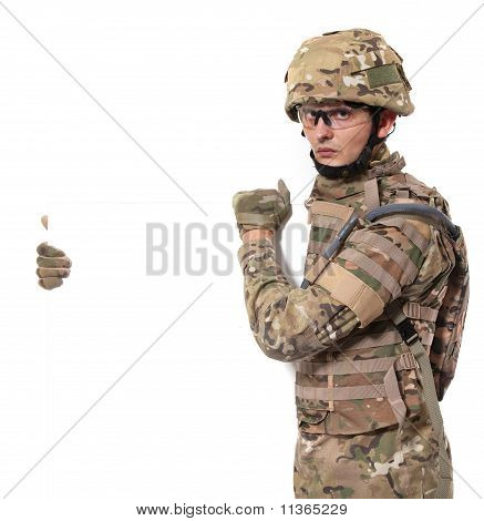 Modern Soldier Holding A Poster