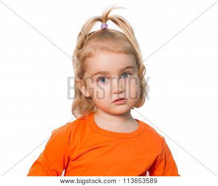 Little Funny Girl In Orange Blouse