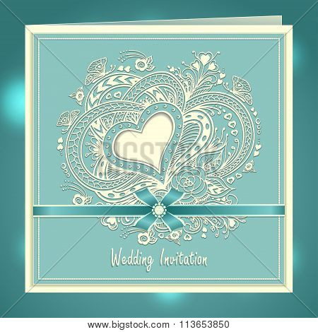 Wedding invitation with Zen-doodle Heart frame flowers bow ribbon in blue