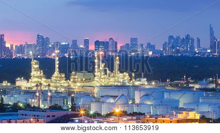Oil refinery, Petrochemical industrial with city background