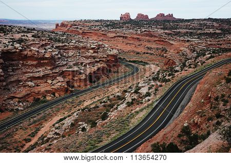 winding highway in canyon land