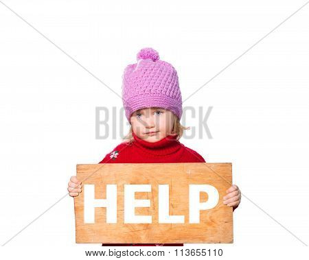 Girl Holding Board With Inscription Help.