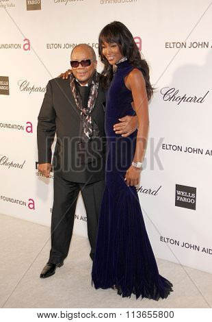 Naomi Campbell and Quincy Jones at the 21st Annual Elton John AIDS Foundation Academy Awards Viewing Party held at the West Hollywood Park in Los Angeles, USA on February 24, 2013.