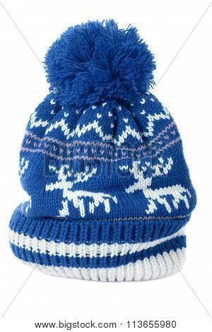 Blue Ski Hat or knit hat isolated on white