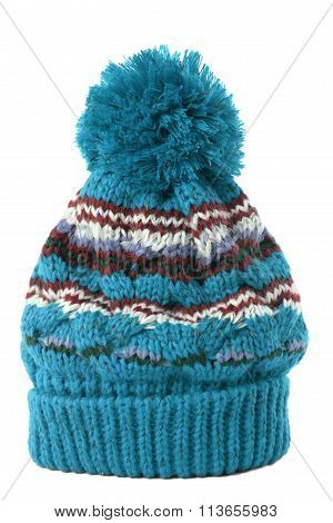 Blue Bobble Hat Or Knit Hat Isolated Against A White Background.