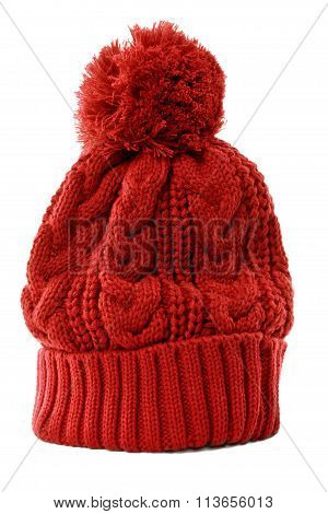 Red winter knit Hat or ski hat