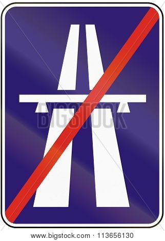 Road Sign Used In Slovakia - End Of Motorway