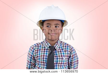 Male Child In Hard Hat Looking Over