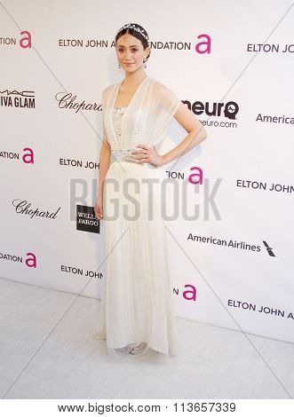 Emmy Rossum at the 21st Annual Elton John AIDS Foundation Academy Awards Viewing Party held at the West Hollywood Park in Los Angeles, USA on February 24, 2013.