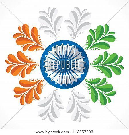 happy republic day flora banner design