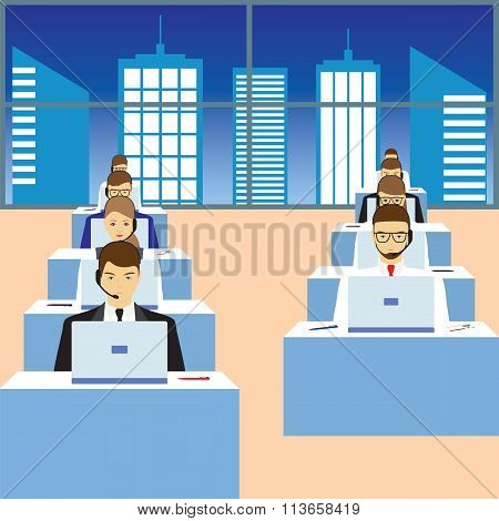 People Working In A Call Center. Support Service.