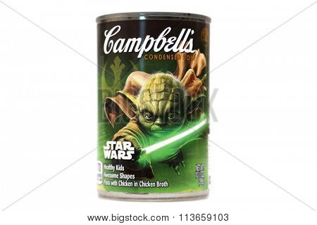 Lake Forest CA. January 8, 2016: Campbell's Soup with Limited Collector addition STAR WARS labels featuring Darth Vader, R2D2, Yoda, Storm Troopers on the labels. January 8, 2016
