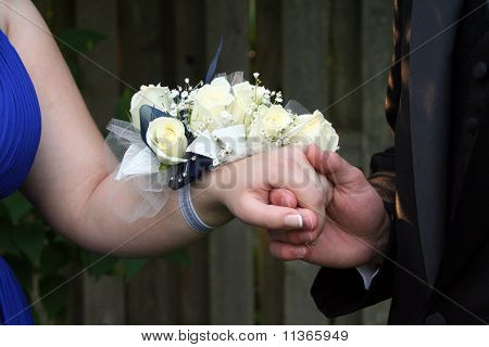 Holding Hand With Wrist Corsage