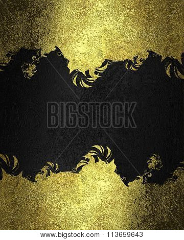 Black Background With Gold Frame. Element For Design. Template For Design. Copy Space For Ad Brochur