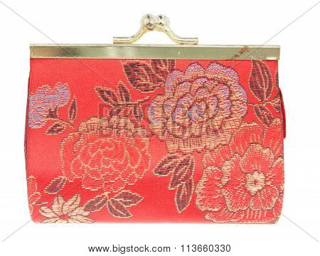 Red Change Purse  Chinese Style Isolated On White Background