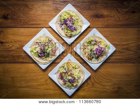 Taco Plates On Wood Table From Above