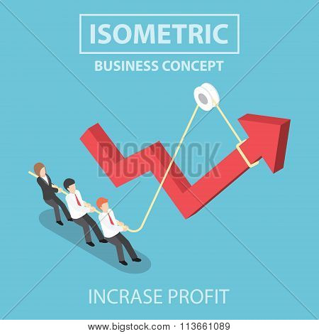 Isometric Business People Pulling Up Arrow Graph By Using Rope