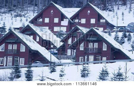 Winter mountain country panorama with fir forest