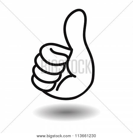 Big Thumb Up Floating On White With Shadow