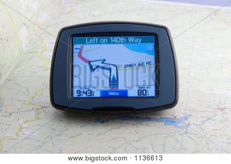 Gps Device On Road Map