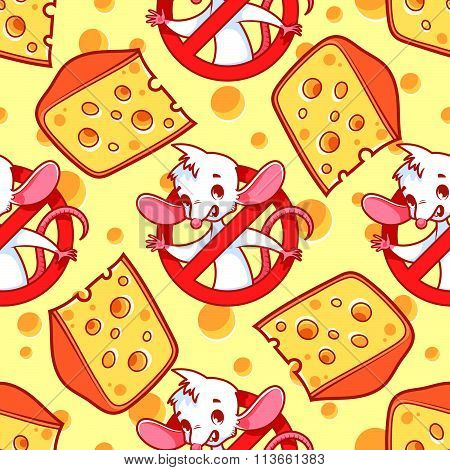 Seamless Pattern With A Slice Of Cheese And Mouse Inside Red Prohibitory Sign On A Light Yellow Back