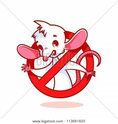 Cute White Mouse Inside Red Prohibitory Sign.