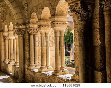 Bethlehem, Israel - July 12, 2015: The Gothic Corridor Of Atrium