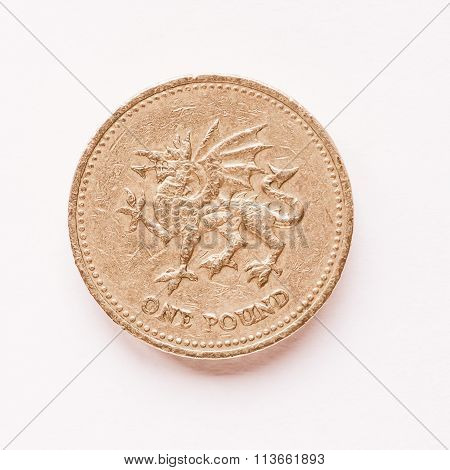 Uk 1 Pound Coin Vintage