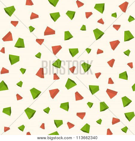 Triangle 3d objects seamless geometric pattern. Vector