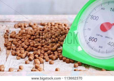dog food and green weighing scale