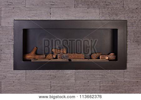 Modern interior fireplace.