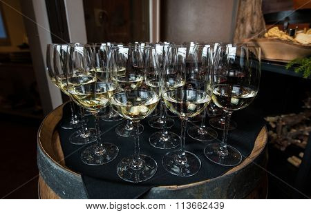 Wine Glasses On A Barrell