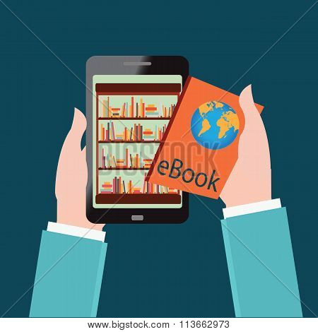Human Hand Chooses E Books In The Internet Books Store In Smartphone.