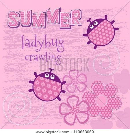 Pink card creeping ladybug vector illustration