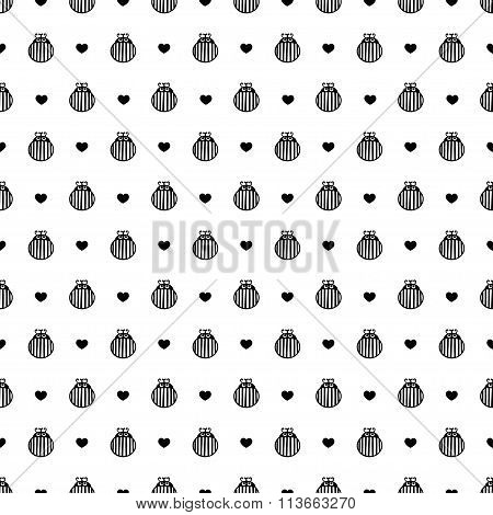 Bug and hearts seamless vector pattern