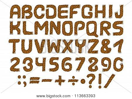 Rope alphabet and number vector set