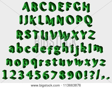 Green isometric font on gray background. Alphabet, numbers and punctuation marks. Vector illustrati
