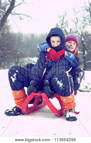 Children On Sledding