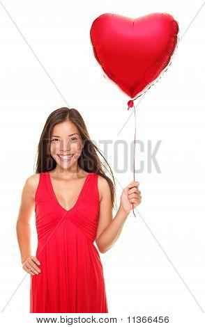 Love Woman Holding Heart Balloon
