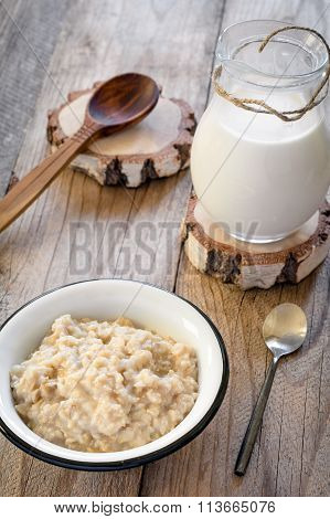 Oatmeal porridge, rustic breakfast
