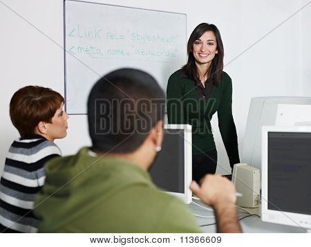 Teacher And Students In College