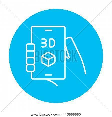 Smartphone with three D box line icon.