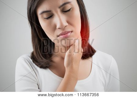 Sore Throat Woman, Lymph Node At Neck